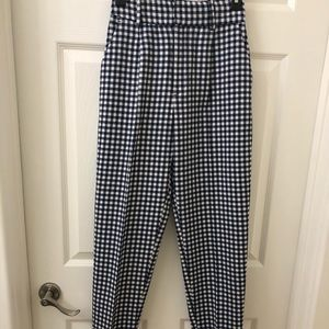 Zara blue and white plaid cropped trousers